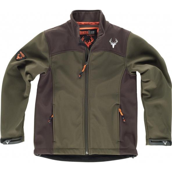 Comprar Chaqueta de caza para niño combinada Verde Caza/Marron online bataro delante