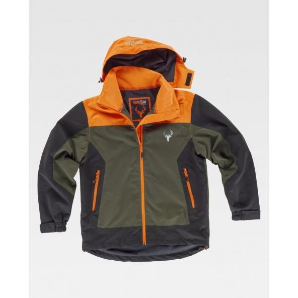 Comprar Chaqueta de caza impermeable S8225 (Calcetines de regalo) Gris+Naranja A.V.+Negro online bataro delante