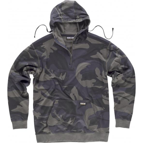 Comprar Sudadera de camuflaje S8505 Camuflage Gris+Negro online bataro delante
