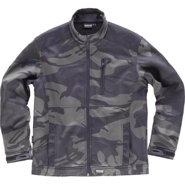 Comprar Chaqueta Workshelll de camuflaje S8510 Camuflage Gris+Negro online bataro delante
