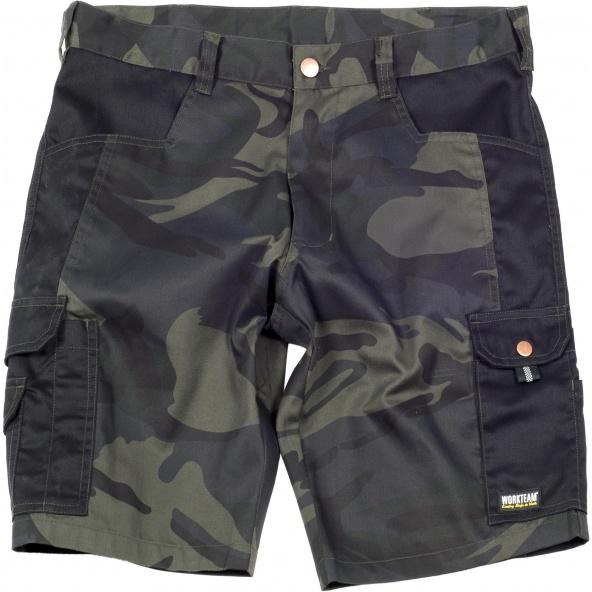 Comprar Bermuda de camuflaje S8516 Camuflage Gris+Negro online bataro delante