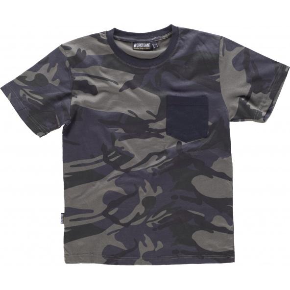Comprar Camiseta de camuflaje S8520 Camuflage Gris+Negro online bataro delante