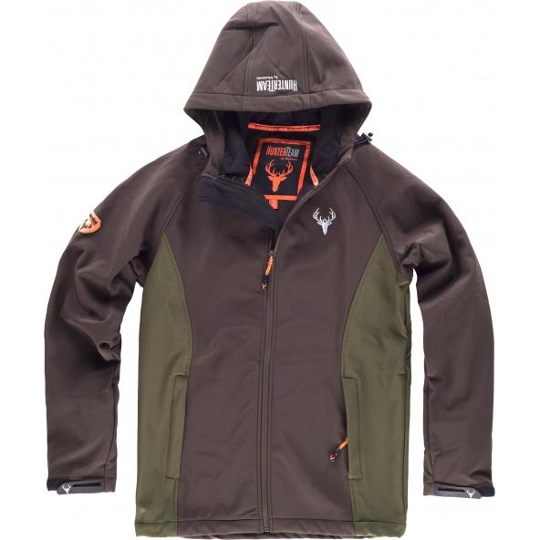 Comprar Chaqueta de caza con capucha S8610 Marron/Verde Caza online bataro delante