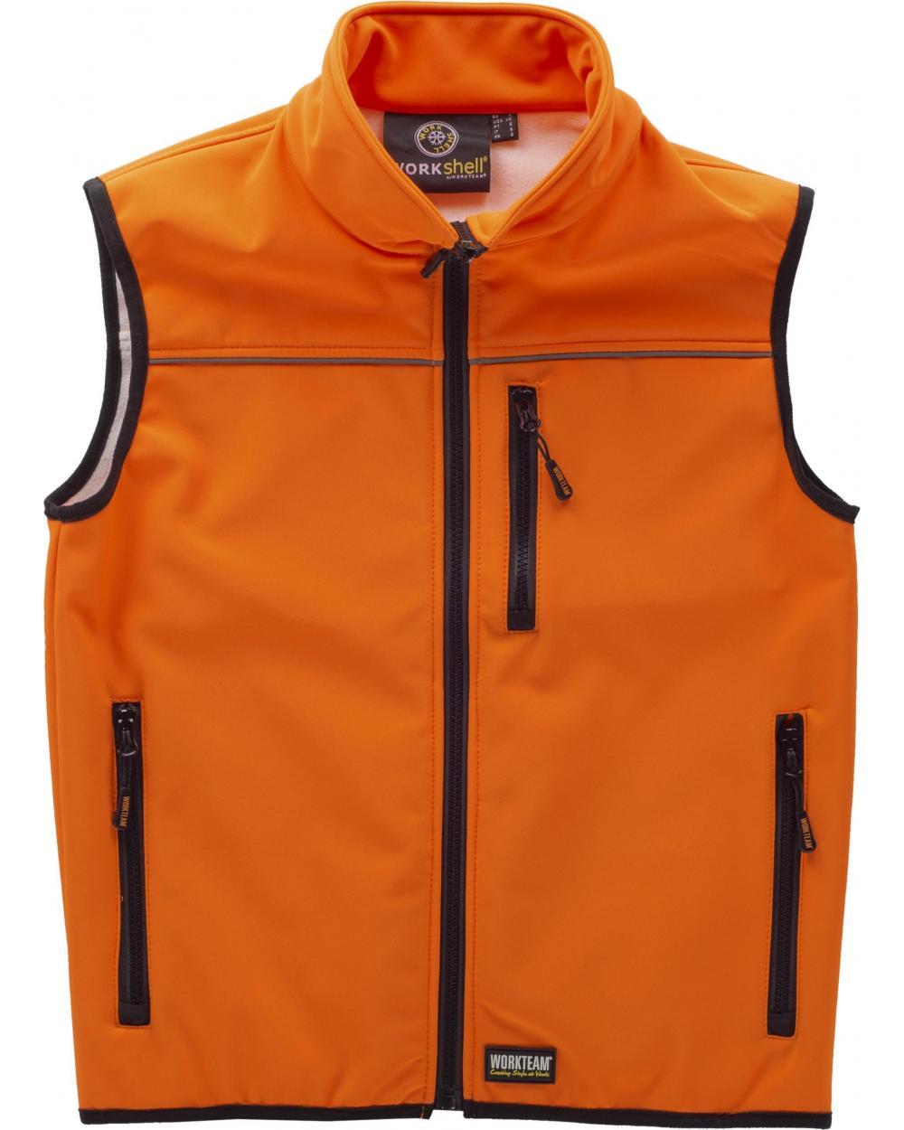 Comprar Chaleco Workshell alta visibilidad (Gorra A.V. de regalo) Naranja A.V. online bataro delante