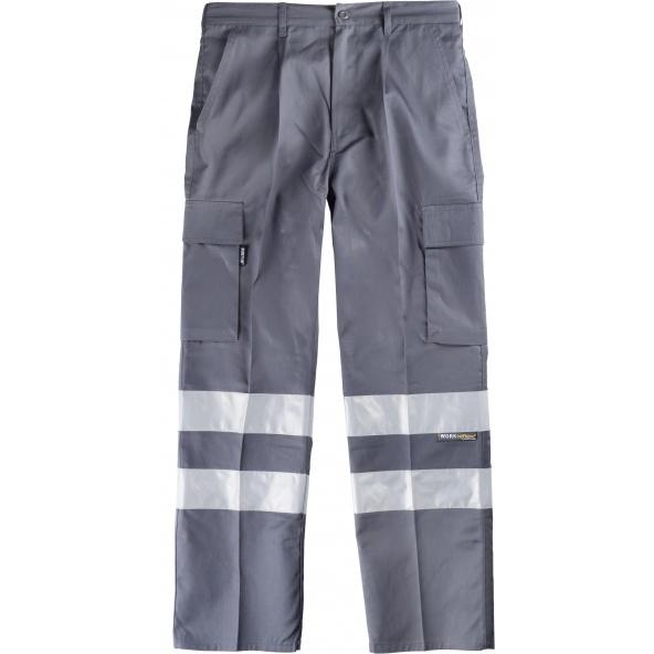Comprar Pantalon con cintas reflectantes B1407 Gris workteam delante