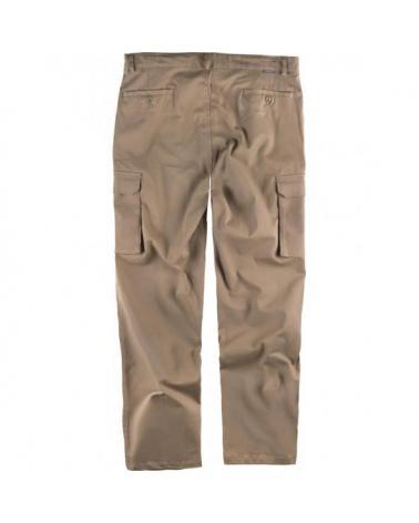 Pantalon multibolsillos tejido elastico algodon B1421 Beige workteam atrás barato