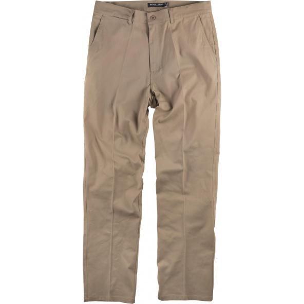 Comprar Pantalon de trabajo tejido elastico algodon B1422 Beige workteam delante