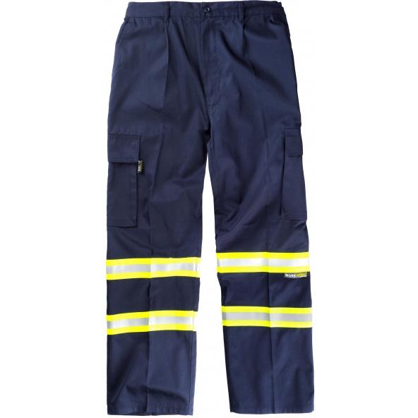 Comprar Pantalon multibolsillos con cintas reflectantes B1436 Marino+Amarillo AV workteam delante