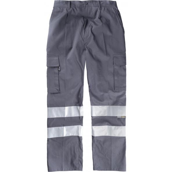 Comprar Pantalon de trabajo de algodon B1447 Gris workteam delante