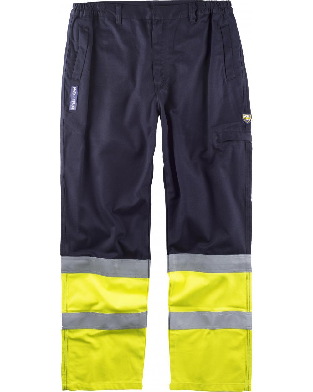 Comprar Pantalon ignifugo y antiestatico certificado B1491 Marino+Amarillo AV workteam delante