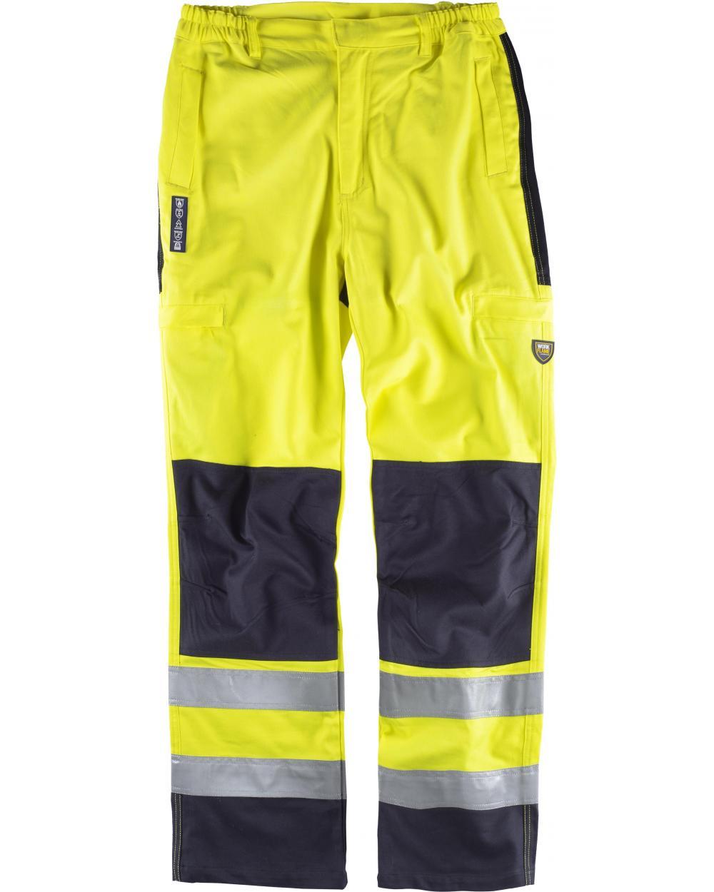 Comprar Pantalon ignifugo y antiestatico certificado B1492 Amarillo AV+Marino workteam delante