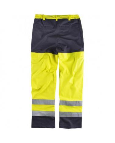 Pantalon ignifugo y antiestatico certificado B1492 Amarillo AV+Marino workteam atrás barato