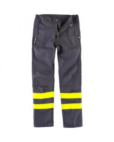 Comprar Pantalon ignifugo y antiestatico certificado B1494 Gris+Amarillo AV workteam delante