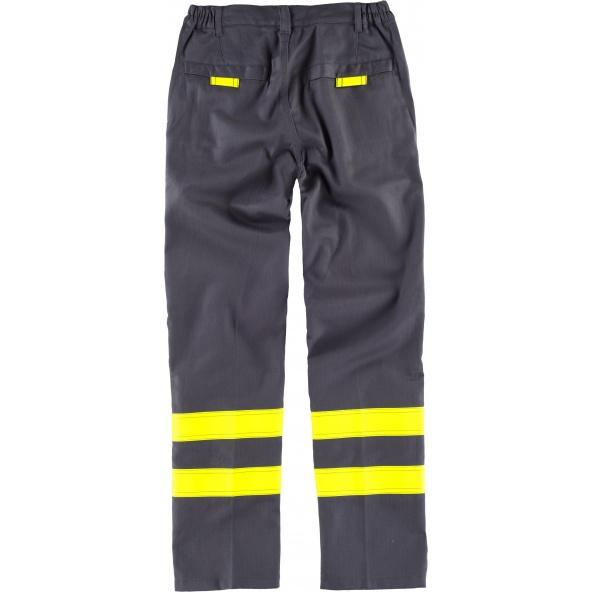 Pantalon ignifugo y antiestatico certificado B1494 Gris+Amarillo AV workteam atrás barato