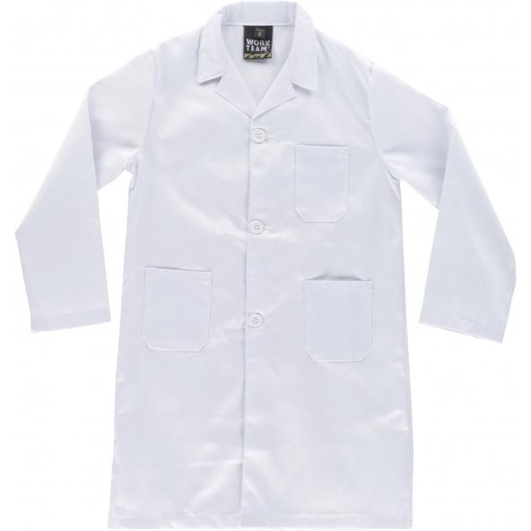 Comprar Bata de niño B6800 Blanco workteam delante