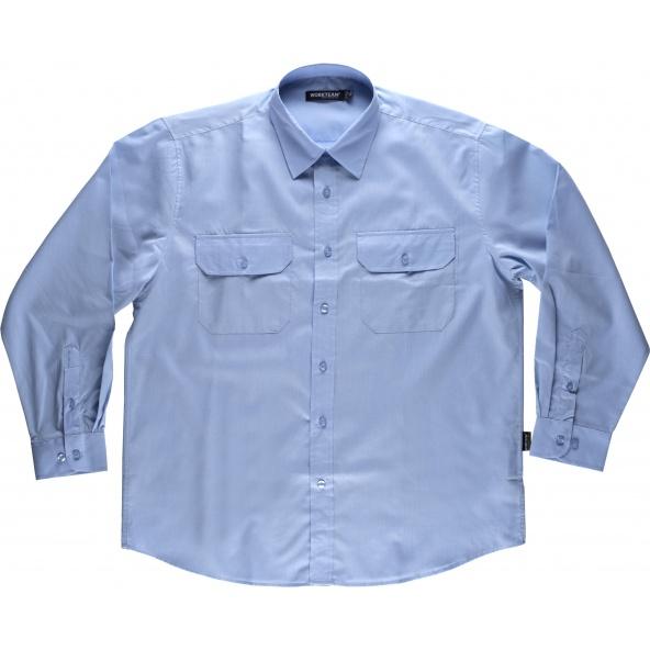 Comprar Camisa manga larga B8001 Celeste workteam delante