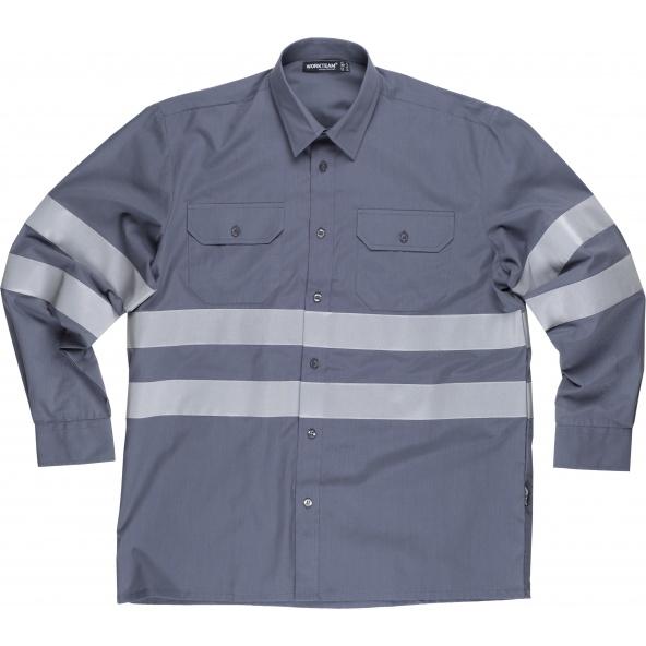 Comprar Camisa con cintas reflectantes B8007 Gris workteam delante