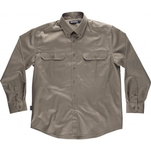 Comprar Camisa algodon  B8400 Beige workteam delante