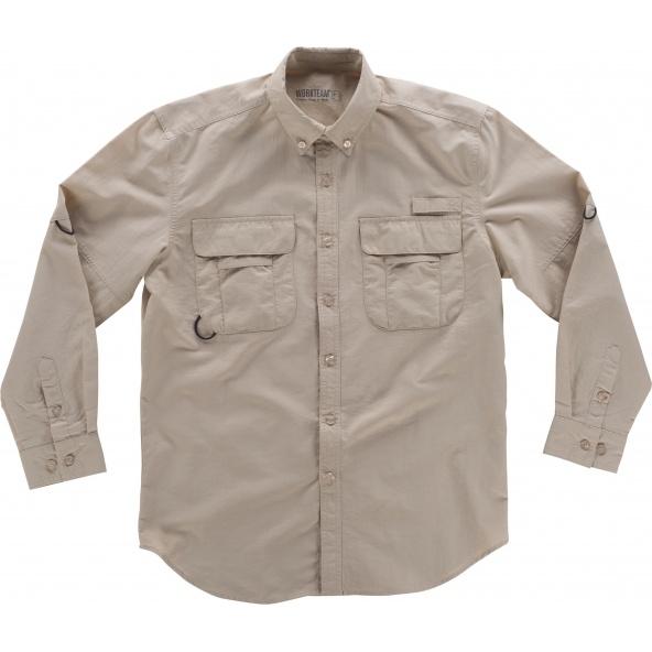 Comprar Camisa de nylon manga larga B8500 Beige workteam lado