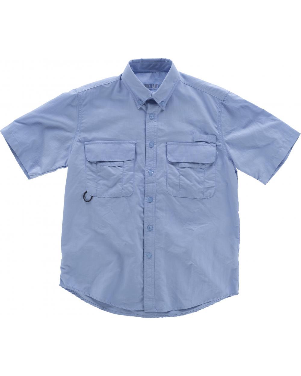 Comprar Camisa de nylon manga corta B8500 Celeste workteam lado