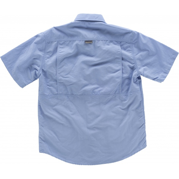 Camisa de nylon manga corta B8500 Celeste workteam atrás barato