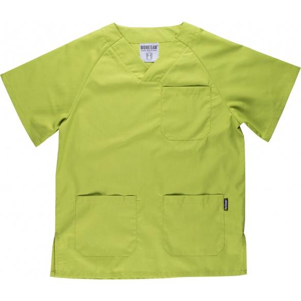 Comprar Conjunto pijama sanitario B9110 Verde Manzana workteam camisa delante