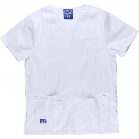 Comprar Conjunto pijama sanitario elastico B9150 Blanco workteam camisa delante