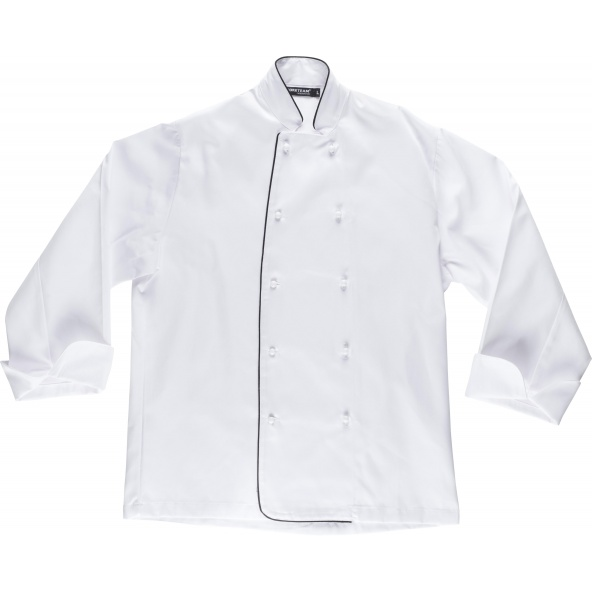 Comprar Casaca de cocina unisex B9206 Blanco+Negro workteam delante
