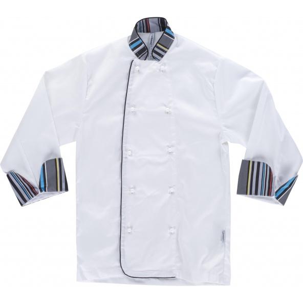 Comprar Casaca de cocina unisex antimanchas B9208 Blanco workteam delante