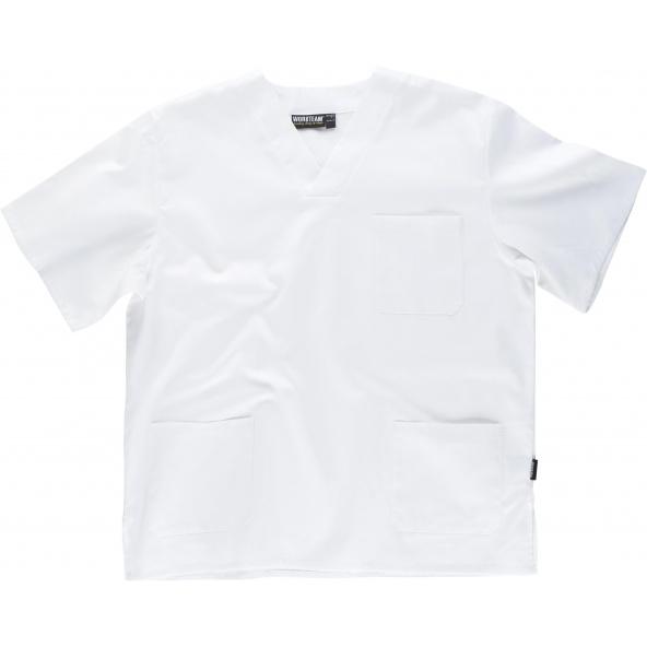 Comprar Casaca sanitaria unisex de algodon B9211 Blanco workteam delante