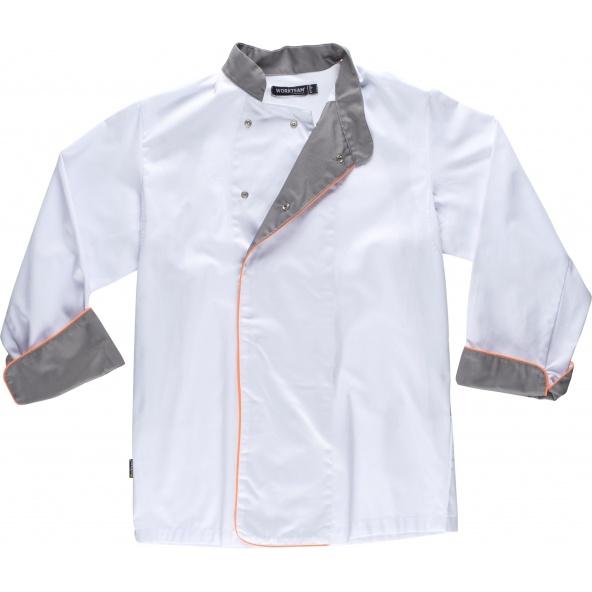 Comprar Casaca antimanchas B9240 Blanco+Gris+Naranja AV workteam delante