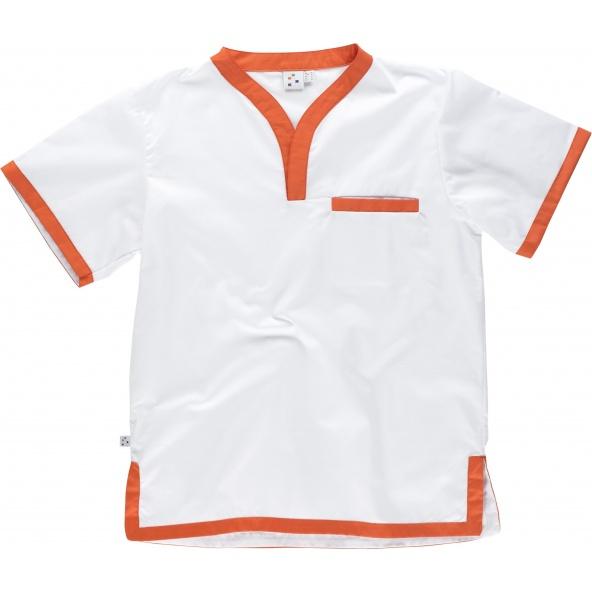 Comprar Casaca sanitaria combinada B9600 Blanco+Naranja workteam delante