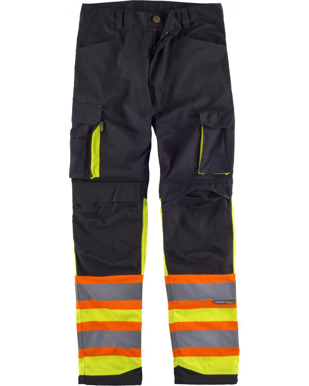 Comprar Pantalon combinado multibolsillos C2618 Negro+Amarillo AV workteam delante