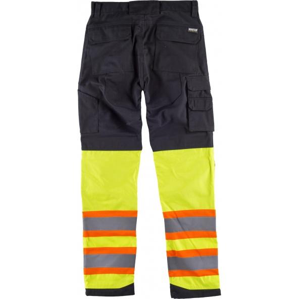 Pantalon combinado multibolsillos C2618 Negro+Amarillo AV workteam atrás barato