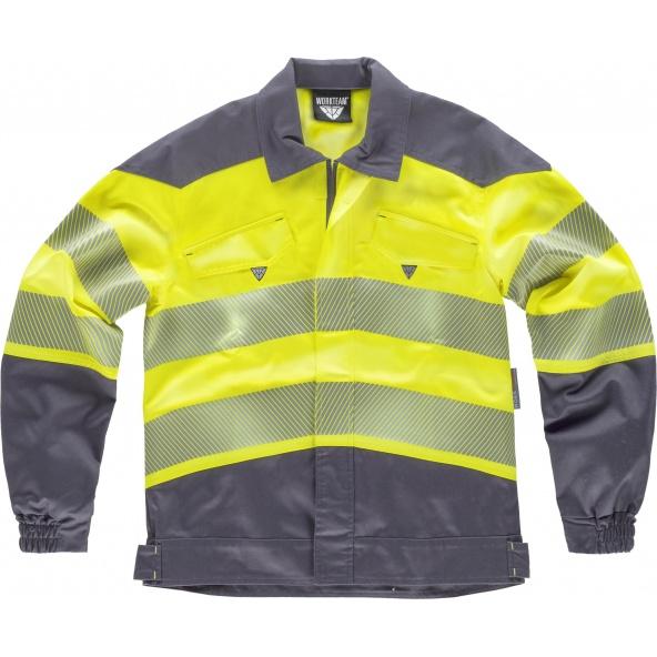 Comprar Cazadora tejido elastico C2710 Gris Oscuro+Amarillo AV workteam delante