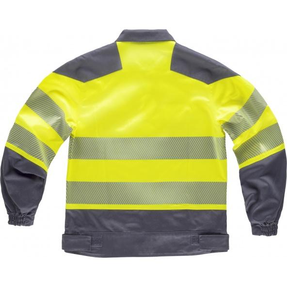 Cazadora tejido elastico C2710 Gris Oscuro+Amarillo AV workteam atrás barato