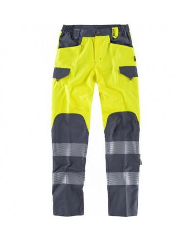 Comprar Pantalones multibolsillos C2715 Amarillo AV+Gris Oscuro workteam delante