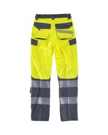 Pantalones multibolsillos C2715 Amarillo AV+Gris Oscuro workteam atrás barato