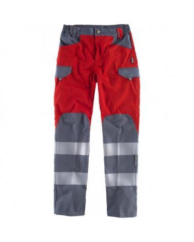 Comprar Pantalones multibolsillos C2716 Rojo+Gris Oscuro workteam delante