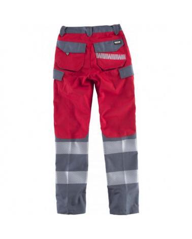 Pantalones multibolsillos C2716 Rojo+Gris Oscuro workteam atrás barato