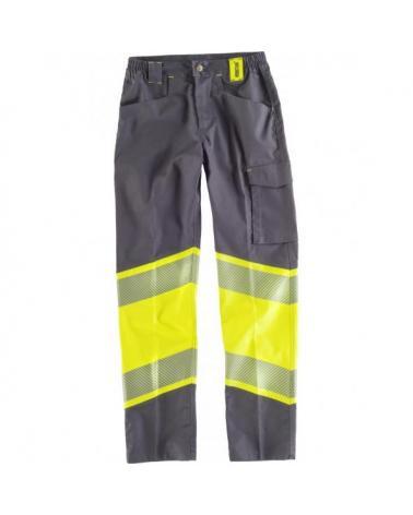 Comprar Pantalon elastico multibolsillos C2718 Gris Oscuro+Amarillo AV workteam delante