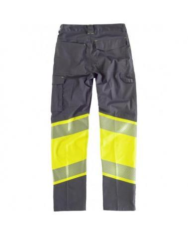 Pantalon elastico multibolsillos C2718 Gris Oscuro+Amarillo AV workteam atrás barato