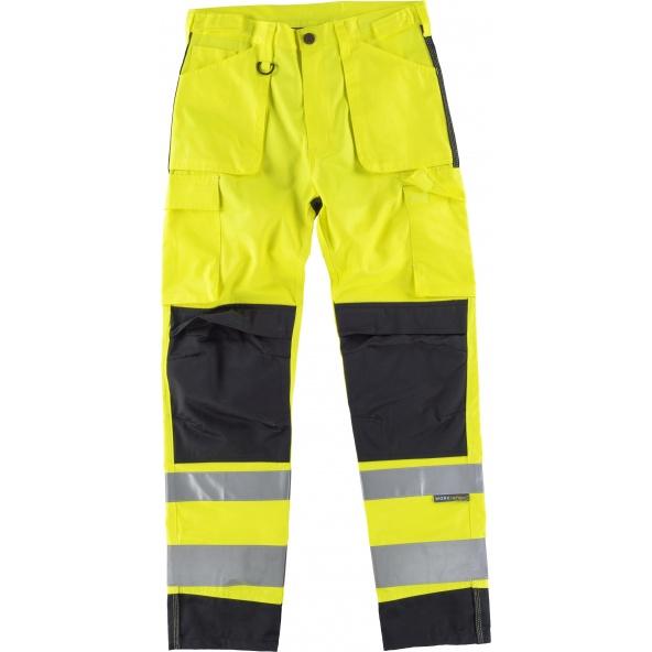 Comprar Pantalon con proteccion rodilleras C2912 Amarillo AV+Negro workteam delante