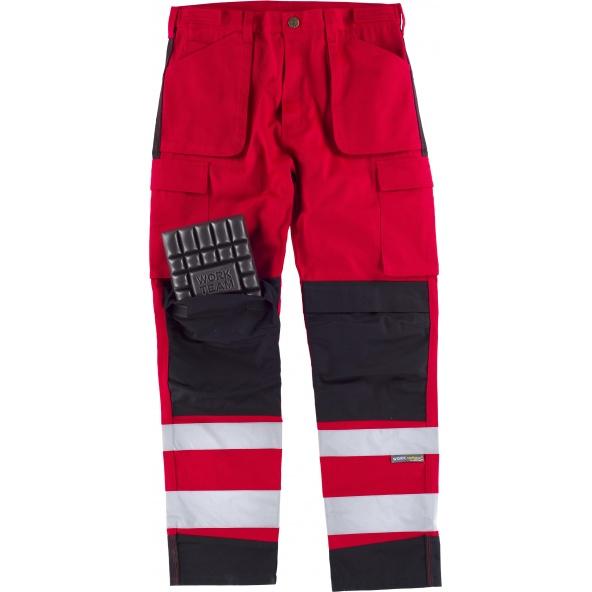 Comprar Pantalon multibolsillos y rodilleras C2913 Rojo+Negro workteam delante