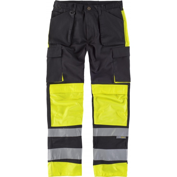 Comprar Pantalon multibolsillos y rodilleras C2914 Negro+Amarillo AV workteam delante