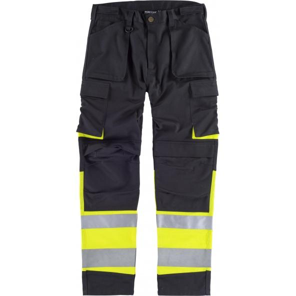 Comprar Pantalon con proteccion rodilleras C2918 Negro+Amarillo AV workteam delante