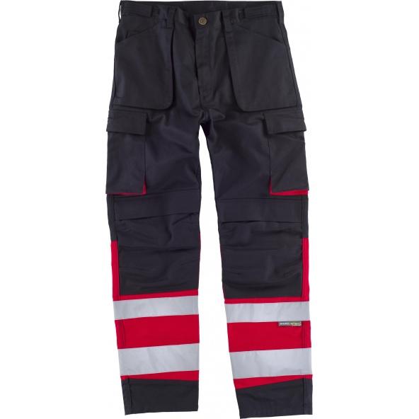 Comprar Pantalon multibolsillos y rodilleras C2919 Negro+Rojo workteam delante