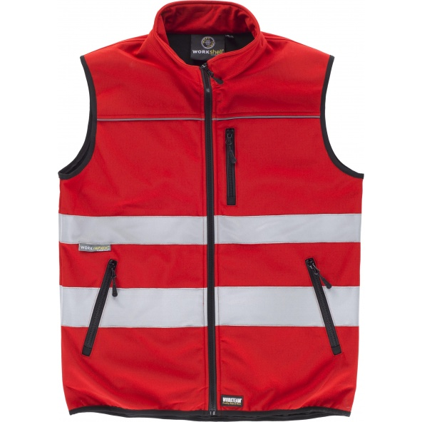 Comprar Chaleco workshell tejido ripstop C2922 Rojo workteam delante