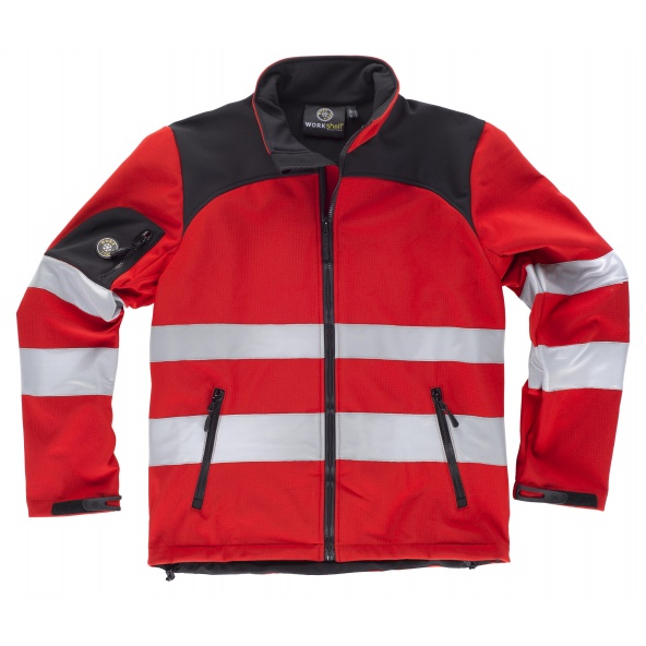 Comprar Chaqueta workshell tejido ripstop C2931 Rojo+Negro workteam delante
