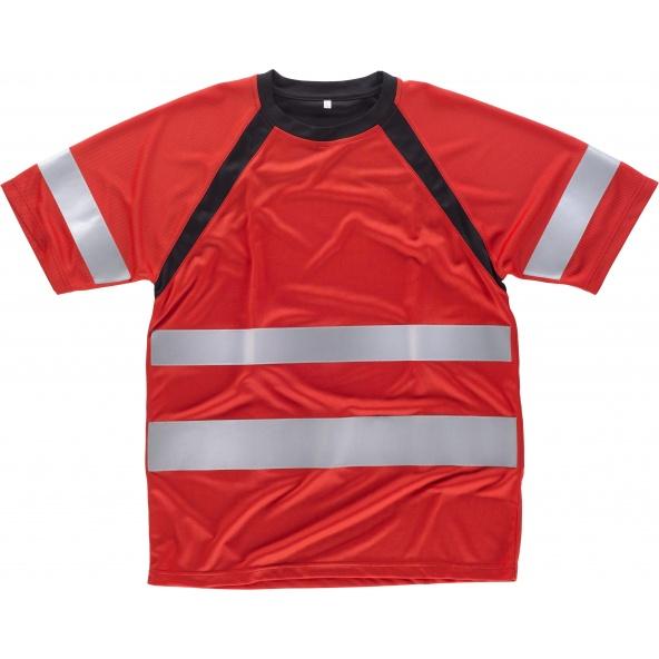 Comprar Camiseta tejido transpirable C2940 Rojo+Negro workteam delante